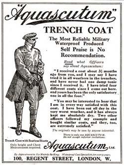 Aquascutum vintage WW I trench coat ad