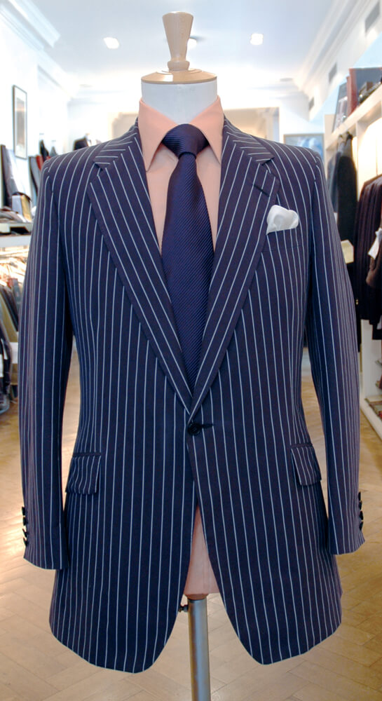 Men's jacket with chalk stripe pattern