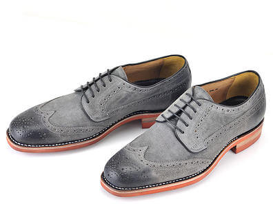 Handcrafted Suede Wing Derby Brogue