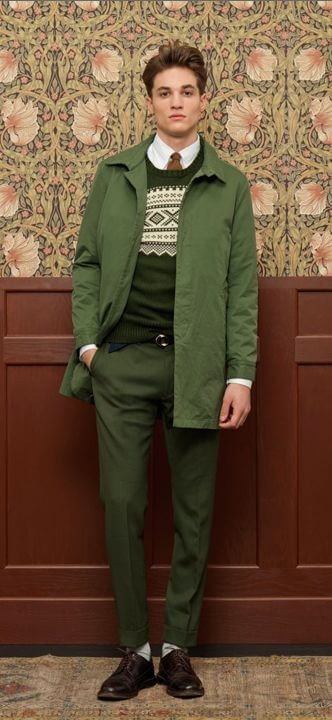 Head to toe green men's fashion