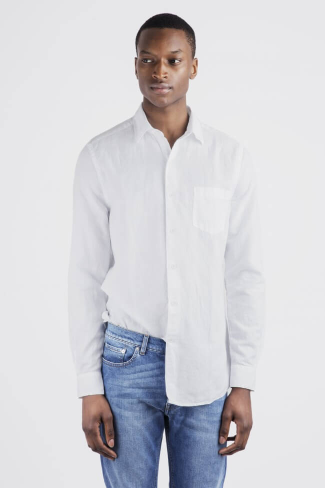 Men dressed in white linen shirt paired with denim jeans.