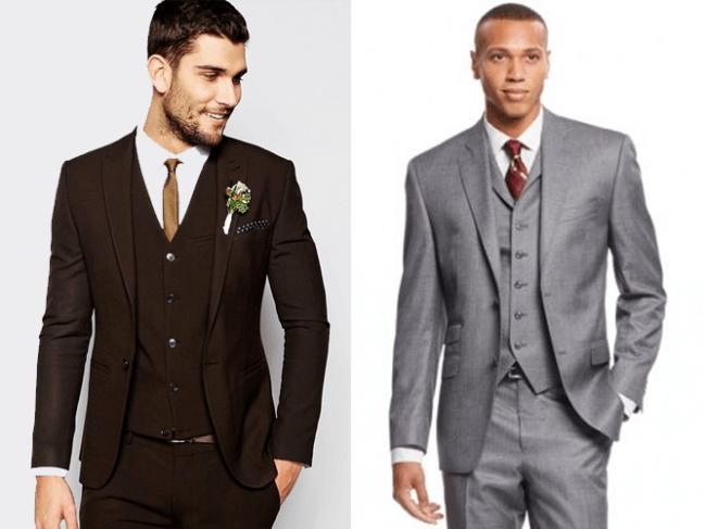 dark brown suit or medium gray suit
