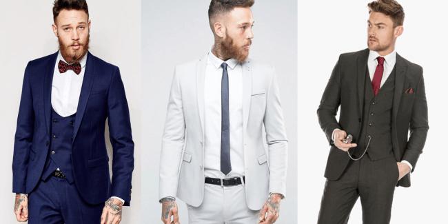 navy blue light gray charcoal gray suit men