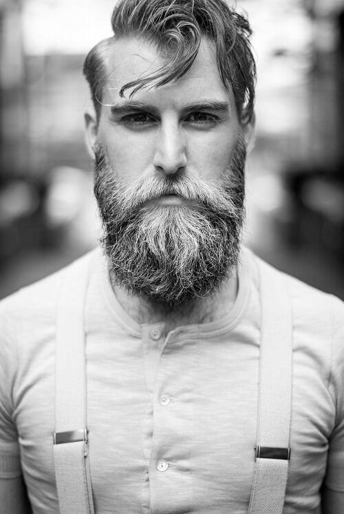 split beard black white photo