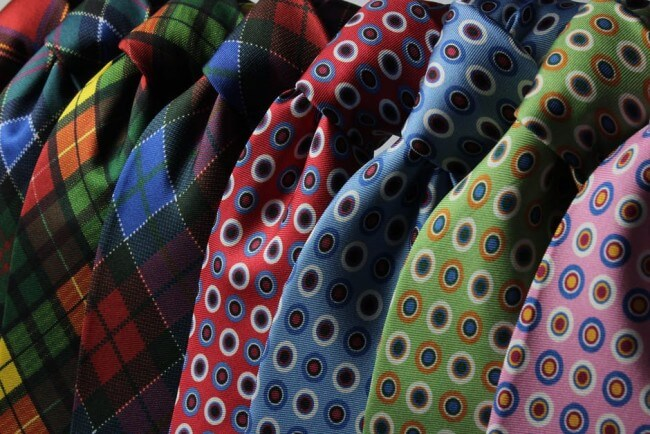 colorful row of neckties