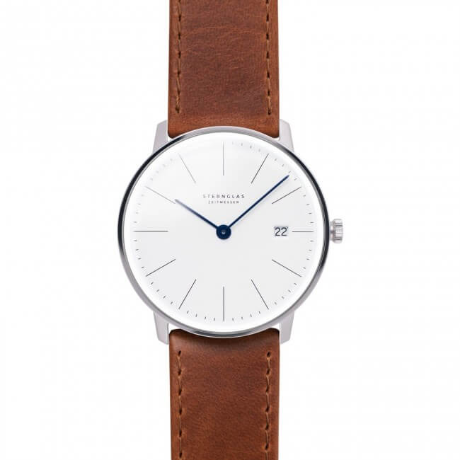 sternglass minimal watch with brown straps