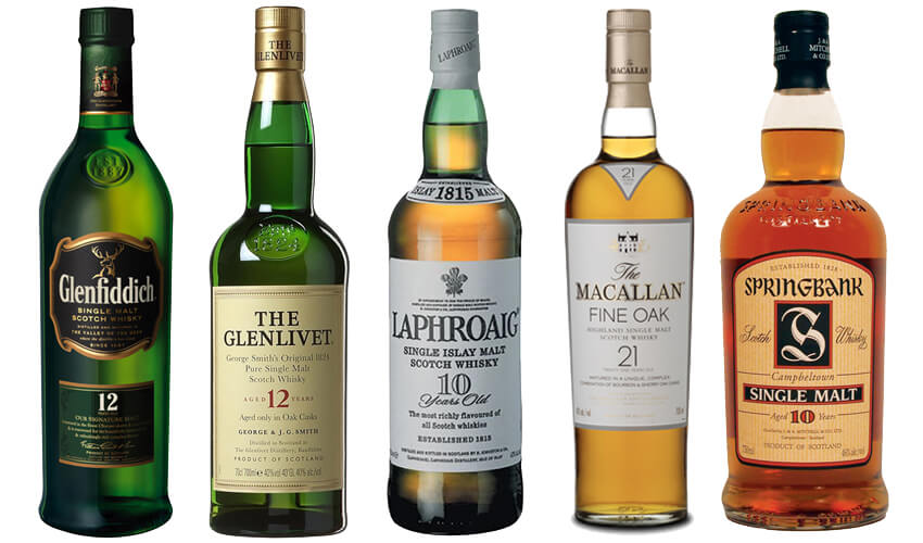 Glenfiddich, Glenlivet, Laphroaig, Macallan, Springbank whisky