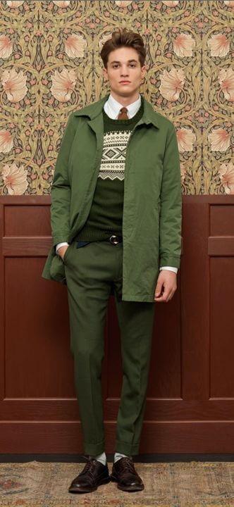 Head to toe green men's fashion