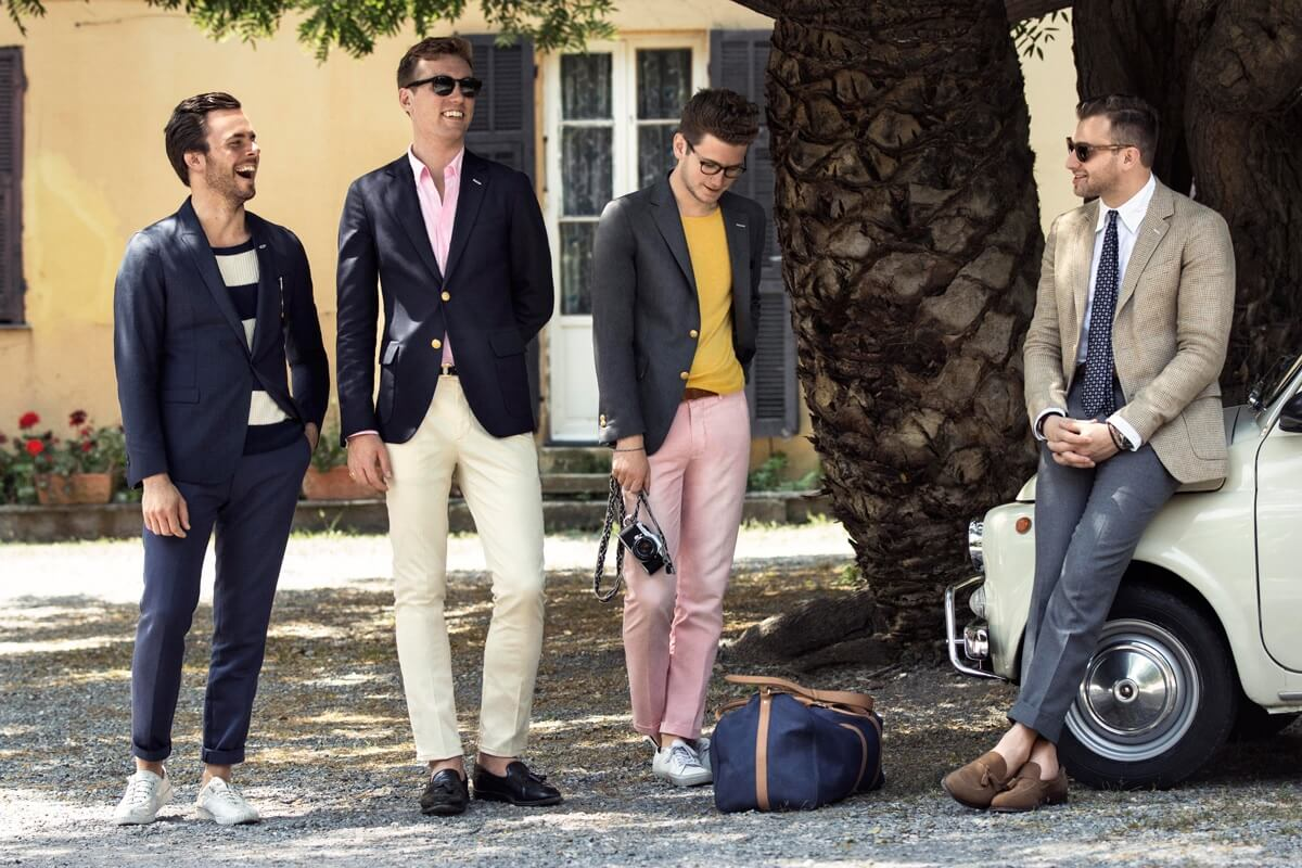 Stylish men on vacation