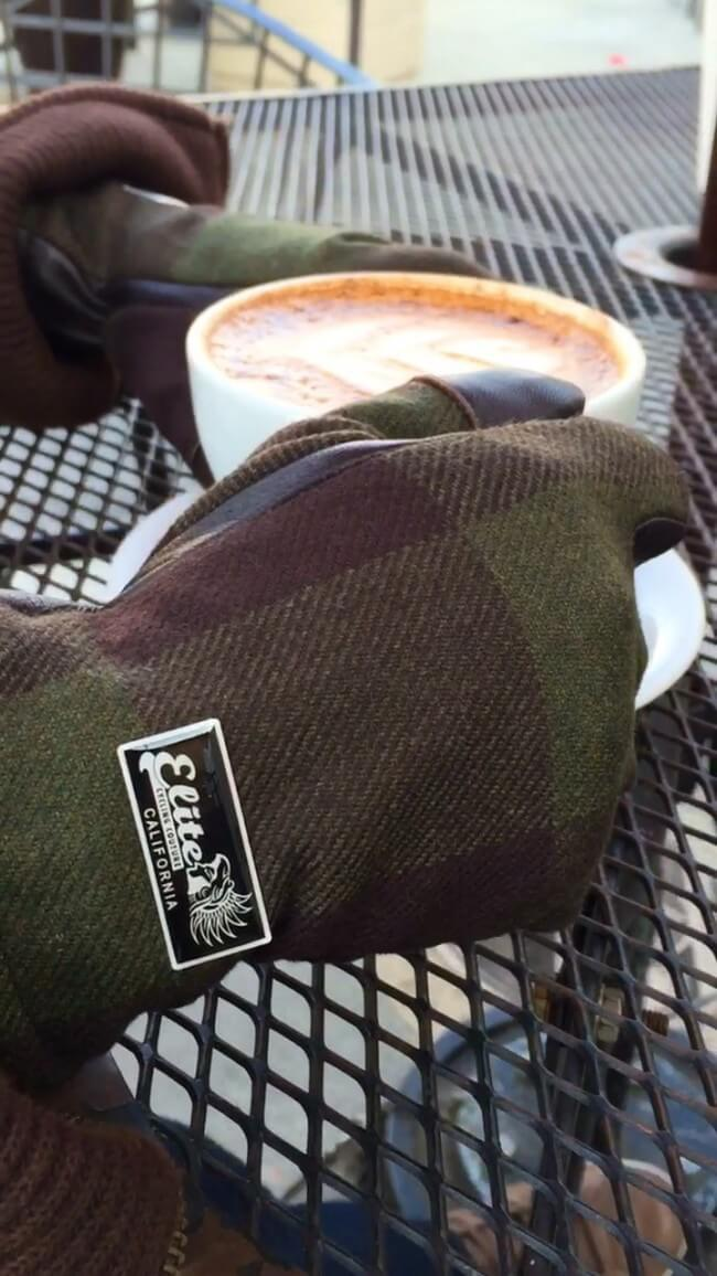 gloves and coffee