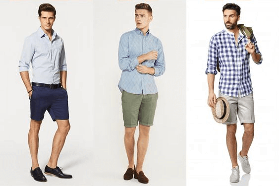 simple mens fashion shorts and closed toe shoes