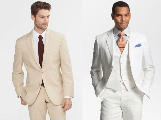 light brown or tan khaki suit vs white suit