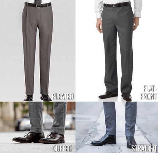 pleated vs flat front pants, cuffed vs straight leg