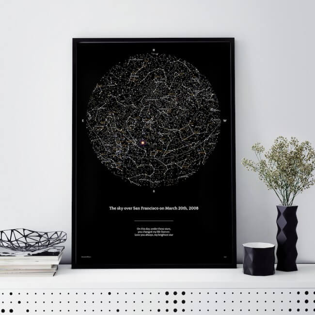 print out of San Francisco night sky star map