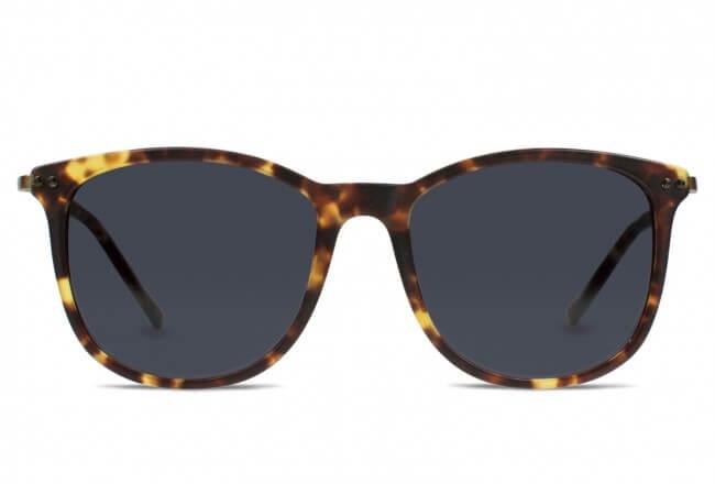 peace out square frame sunglasses in matte cognac tortoise